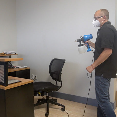 disinfect your workplace with a disinfectant fogger or disinfectant sprayer