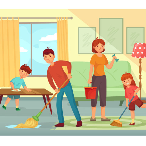 family cleaning with disinfectant for the home can be a team effort and fun with bulk disinfectant spray