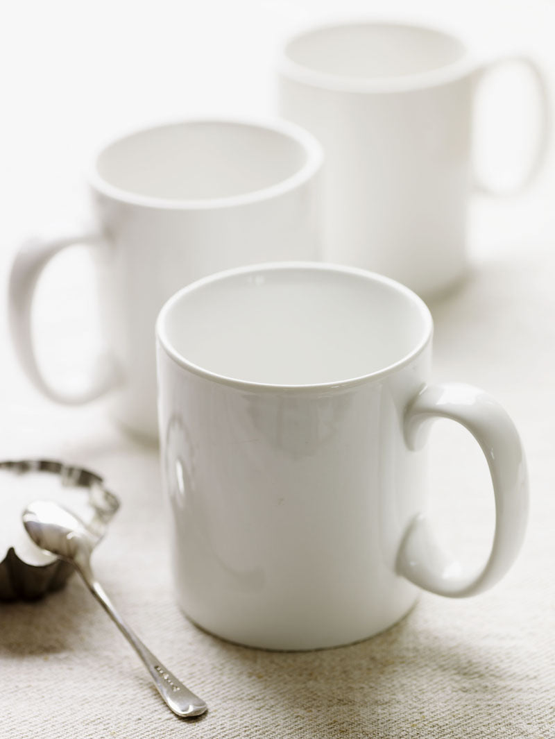 large white mugs, porcelain, simple and classic design