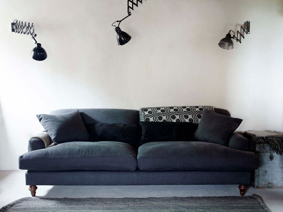 grey linen hand made sofa