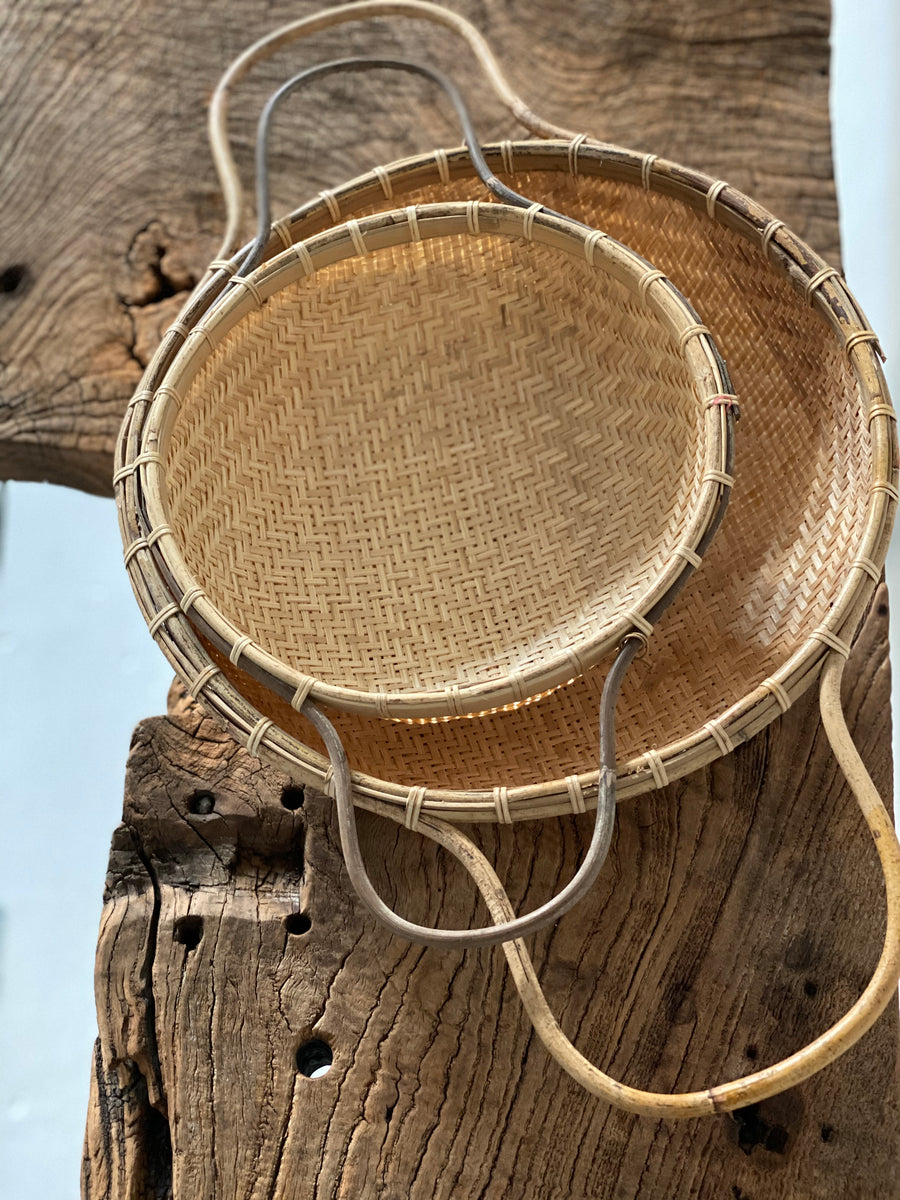 rattan and bamboo rice sieves
