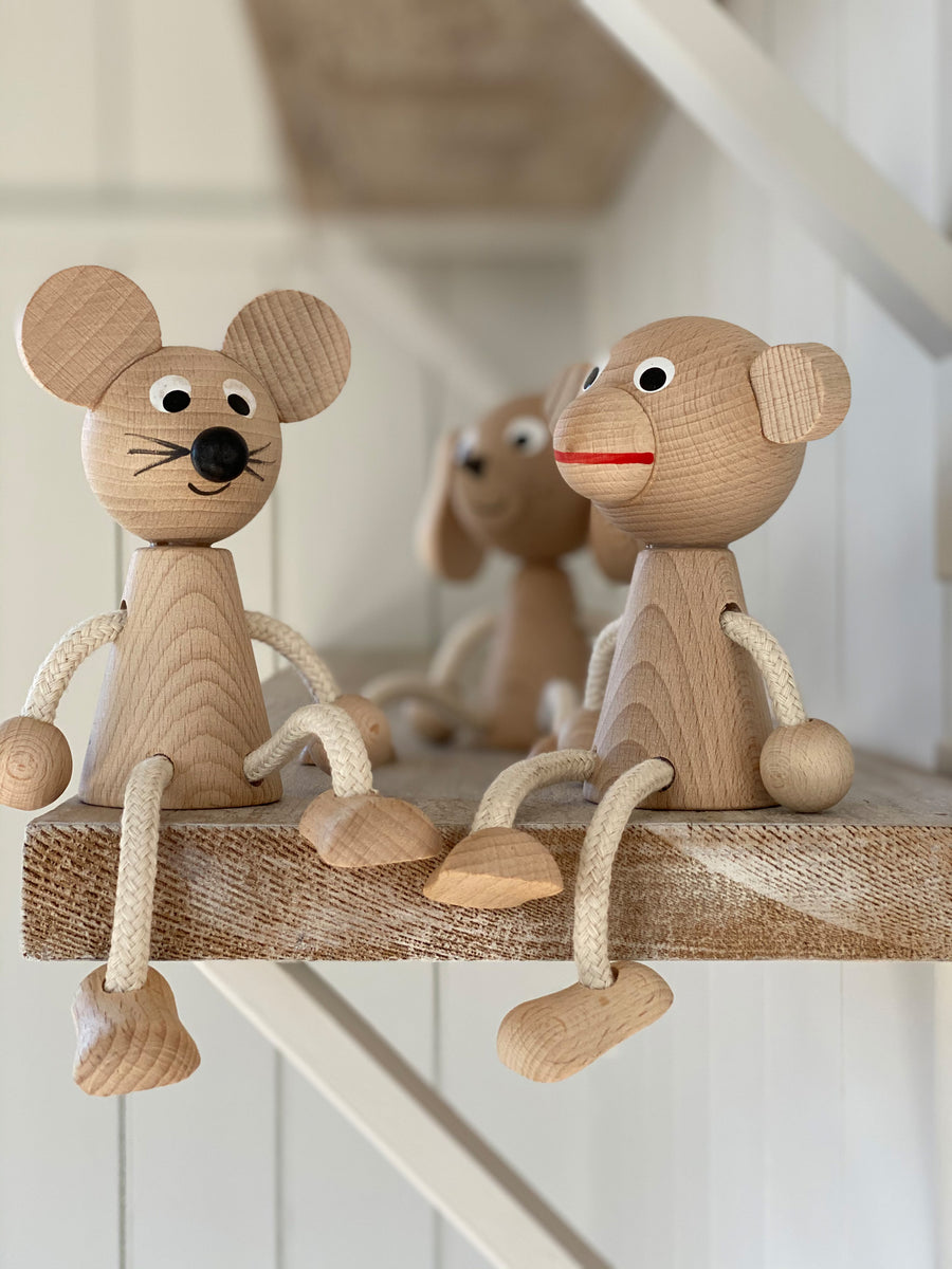 sitting wooden animals