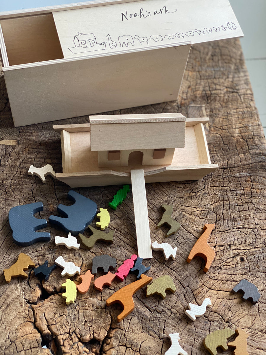 eco sustainable toy, noah's ark bible story. comes with a wooden storage box, little ark and figures. all made from sustainable wood