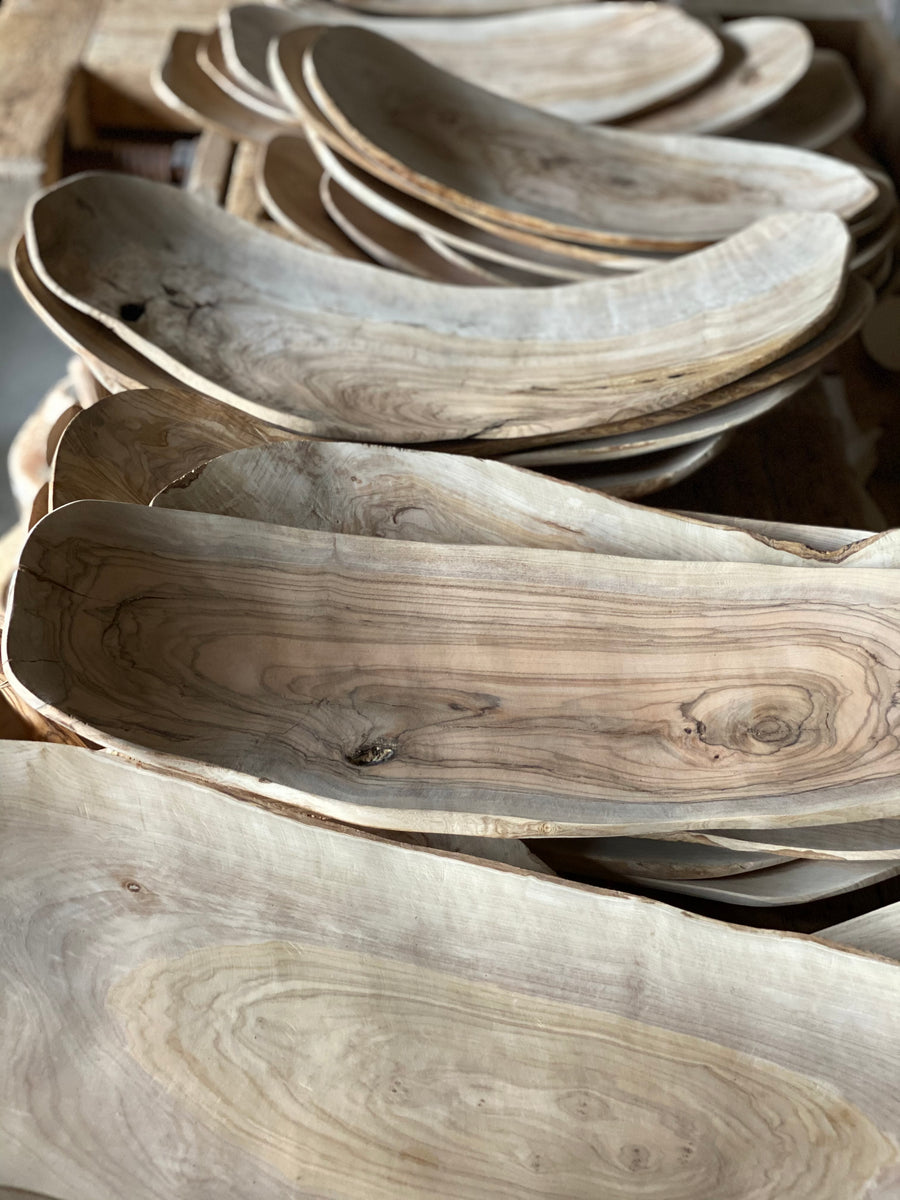 curved olive wood platters