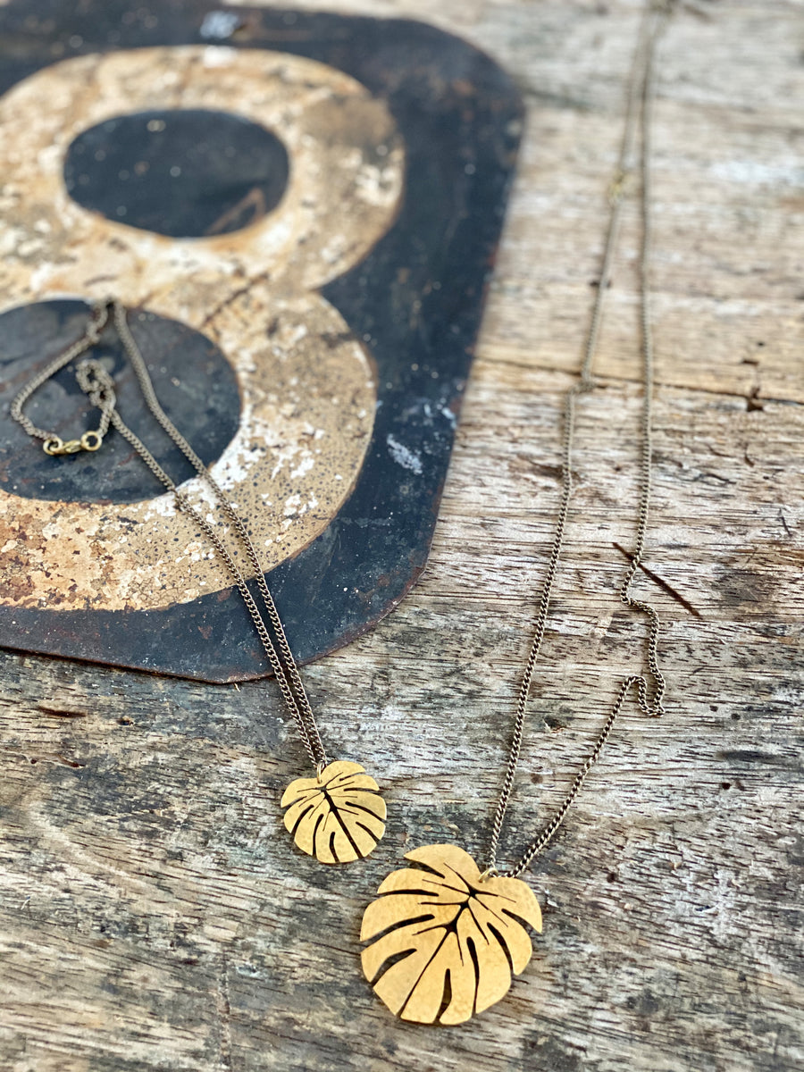 brass monstera leaf pendants