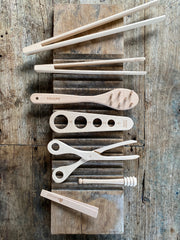 Assorted wooden utensils. sustainable wooden tools. eco wooden tools