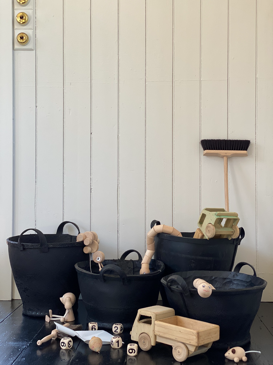 toy baskets made from recycled rubber tyres