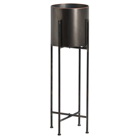Large Gun Metal Grey Cylindrical Planter On Black Frame
