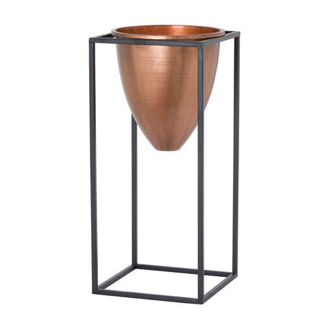Large Copper Planter On Black Frame