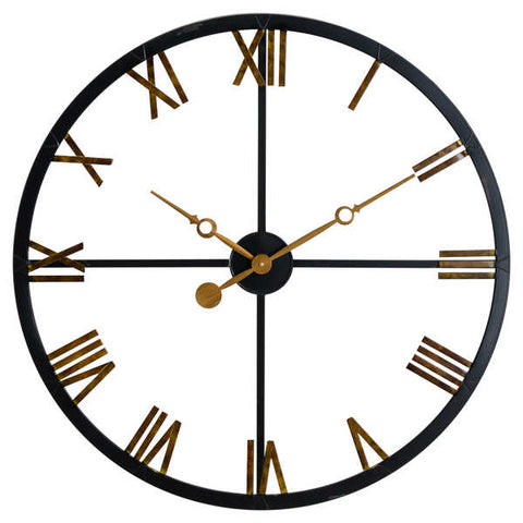 Black And Gold Skeleton Station Clock - The Quirky Home Co