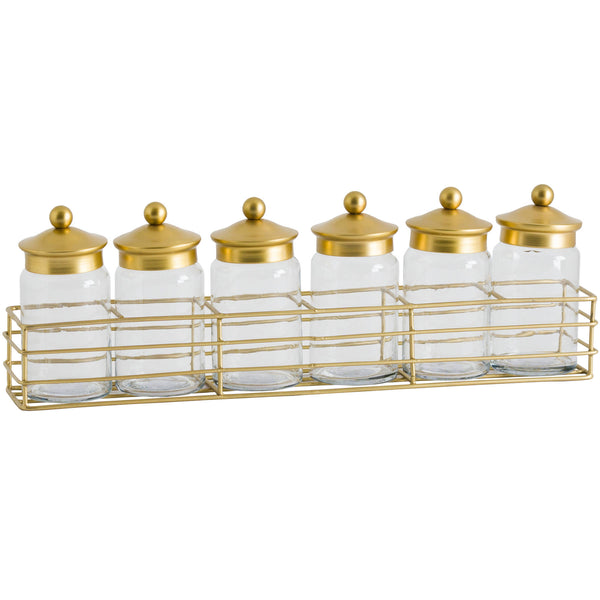 Six Jar Spice Rack With Brass Lid - The Quirky Home Co