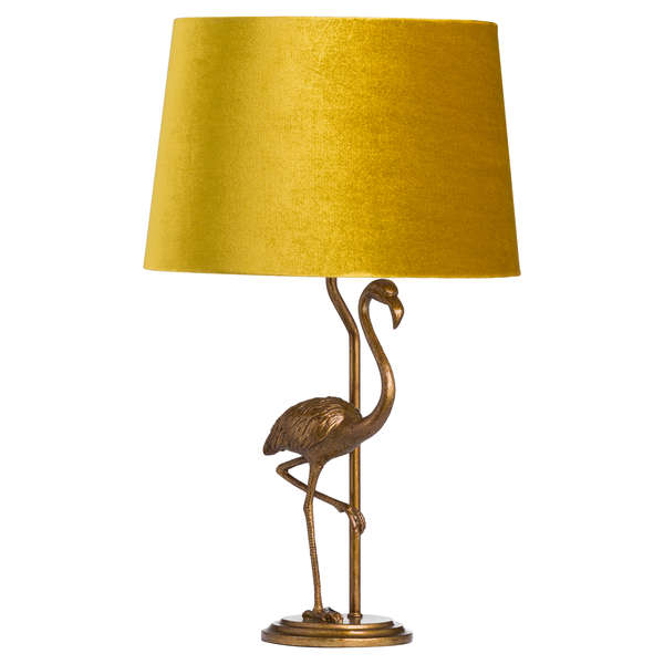 Gold Flamingo Lamp With Mustard Velvet Shade - The Quirky Home Co