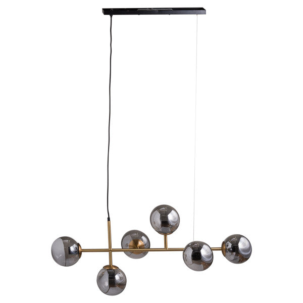 Six Globe Smoked Glass And Brass Detail Hanging Light - The Quirky Home Co