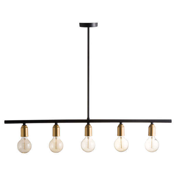Black And Brass Industrial Five Bulb Bar Light - The Quirky Home Co