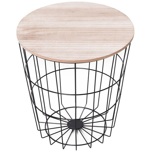 Metal Base Lift-Top Side Table Black & Oak Tone - The Quirky Home Co