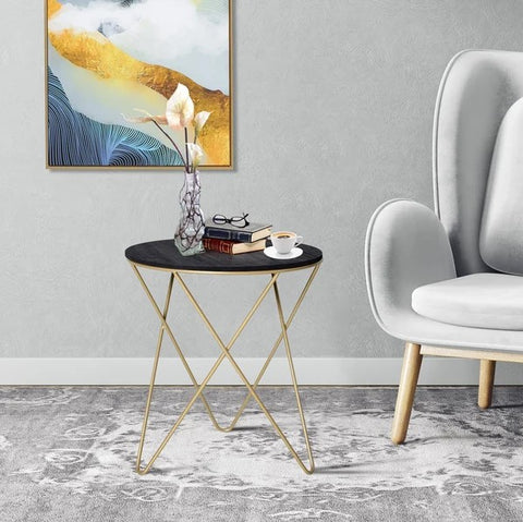 Metal Base Lift-Top Side Table Black & Gold - The Quirky Home Co