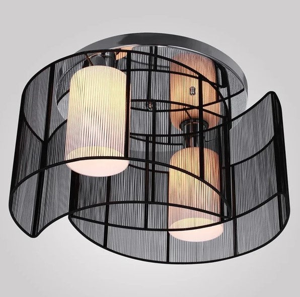 Metal Ceiling Light Pendant with Fabric Finish Black - The Quirky Home Co