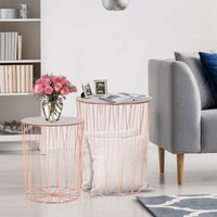 Lift-Top Rose Gold Side Table Duo