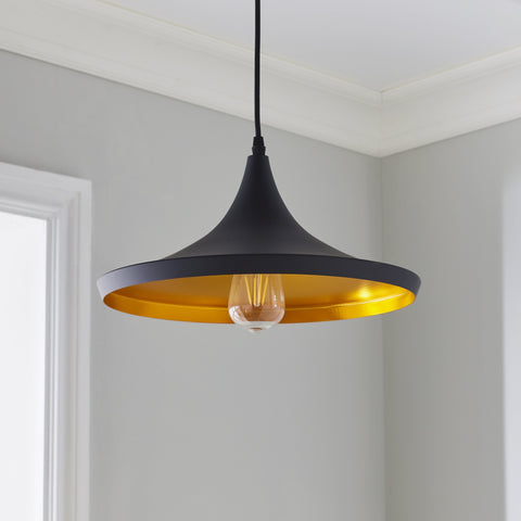 Black & Gold Over-Table Pendant - The Quirky Home Co