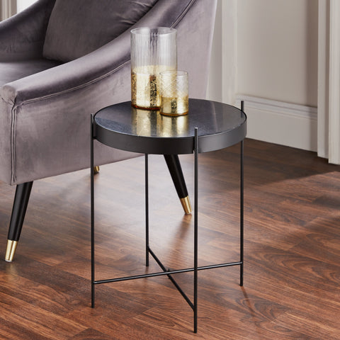 Black Marble Side Table - The Quirky Home Co