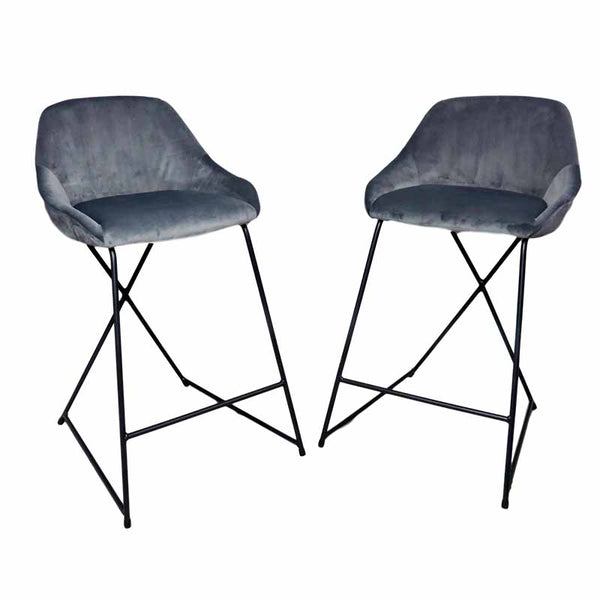 Grey Velvet Barstool (Set of 2) - The Quirky Home Co