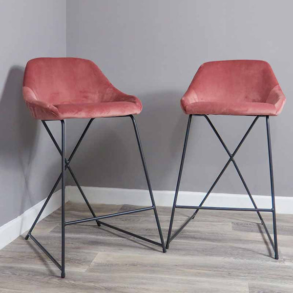 Rose Velvet Barstool (Set of 2) - The Quirky Home Co
