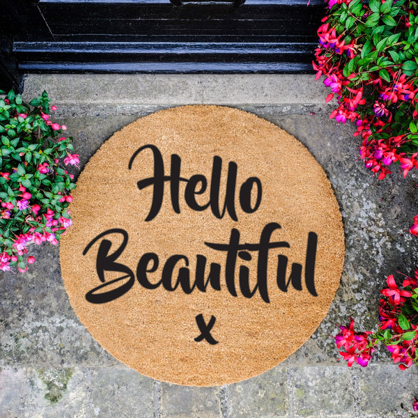 Circle Hello Beautiful Doormat