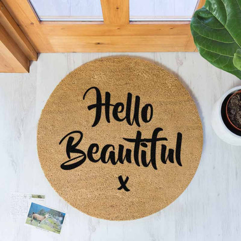 Hello Beautiful Circle Doormat - The Quirky Home Co