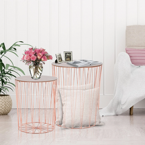 Lift-Top Rose Gold Side Table Duo - The Quirky Home Co