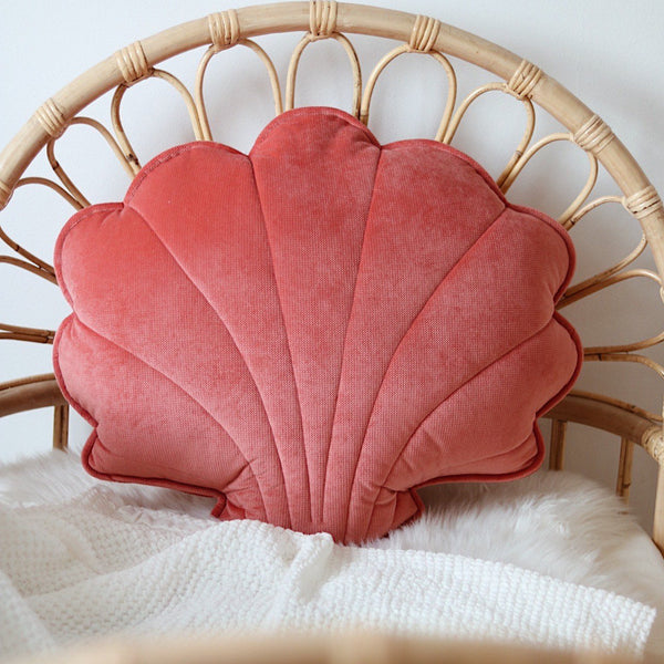 Coral Big Velvet Shell Cushion - The Quirky Home Co