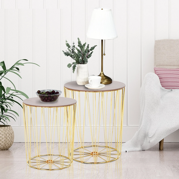 Lift-Top Gold Side Table Duo - The Quirky Home Co