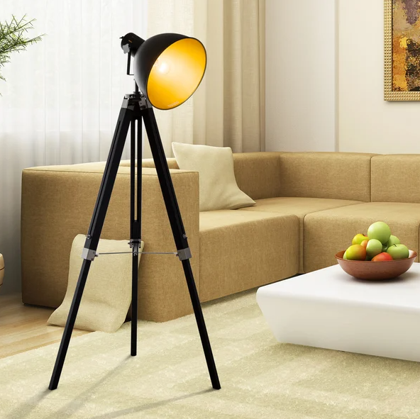 Black & Gold Tripod Adjustable Floor Lamp - The Quirky Home Co