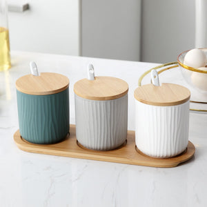 Nordic Ceramic Seasoning Storage Jars - The Quirky Home Co