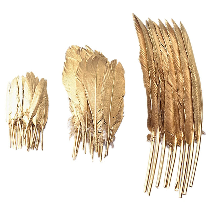Gold Decorative Feathers, Pack Of Ten - The Quirky Home Co