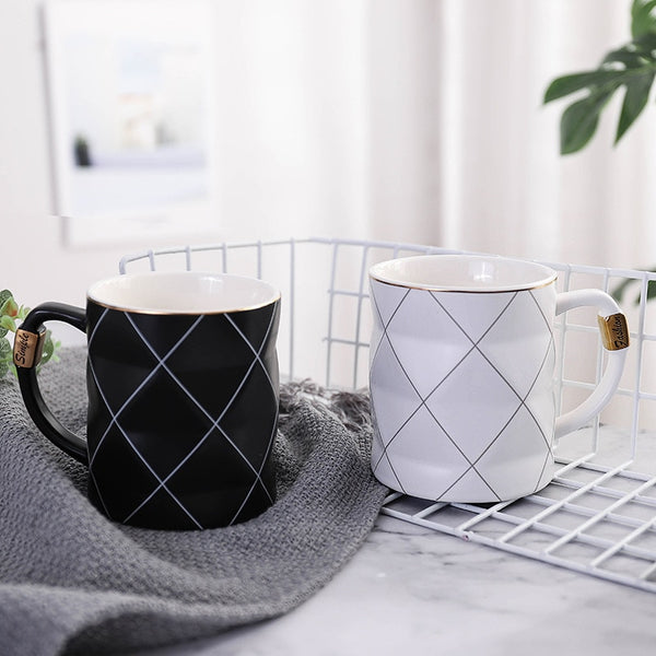 Nordic Grid Geometry Ceramic Coffee Mug - The Quirky Home Co