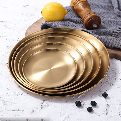 Stainless Steel Gold Serving Plates - The Quirky Home Co