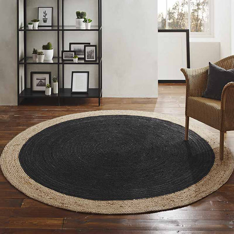 Milano Soft Jute Rug with Charcoal Centre - The Quirky Home Co
