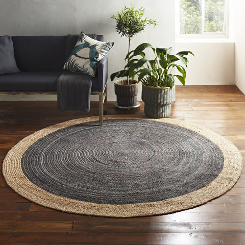 Milano Soft Jute Rug with Light Grey Centre