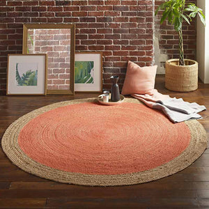 Milano Soft Jute Rug with Blood Orange Centre - The Quirky Home Co