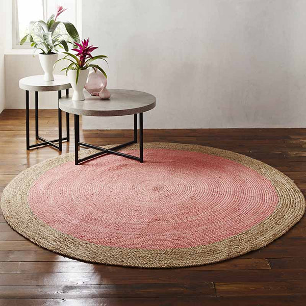 Milano Soft Jute Rug with Pale Pink Centre - The Quirky Home Co