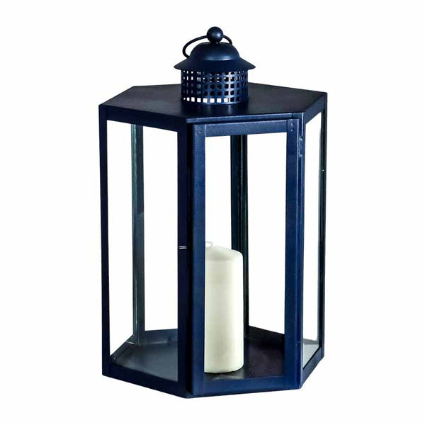 Indoor Outdoor Blue Lantern - The Quirky Home Co