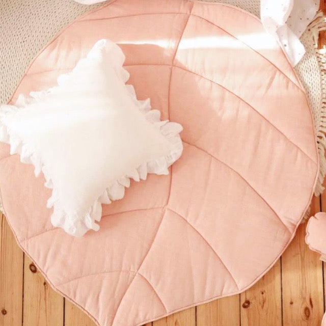 Light Pink Linen Leaf Mat - The Quirky Home Co