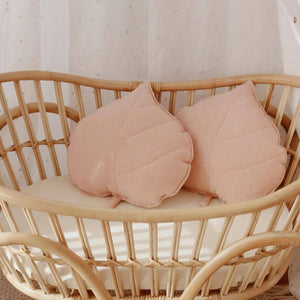 Light Pink Linen Leaf Cushion - The Quirky Home Co