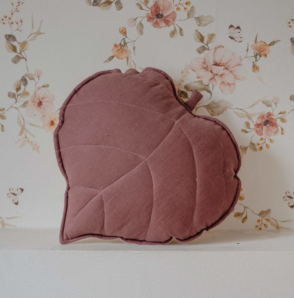 Marsala Linen Leaf Cushion - The Quirky Home Co