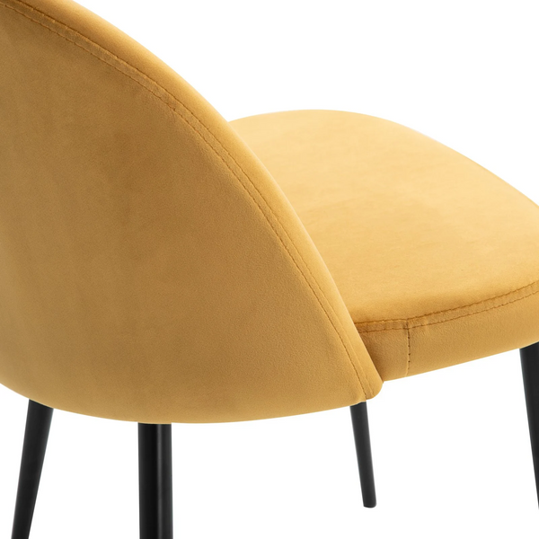 Contemporary Velvet Mustard Set Of 2 Dining Chairs - The Quirky Home Co