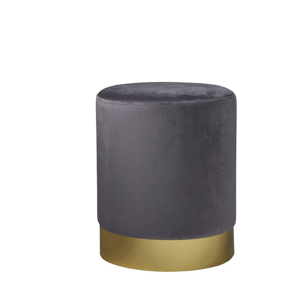 Round Grey Velvet Stool - Gold Finish - The Quirky Home Co