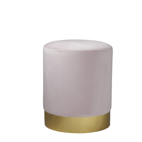 Round Pastel Pink Velvet Stool - Gold Finish - The Quirky Home Co