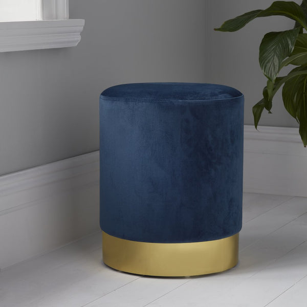 Round Mystique Blue Velvet Stool - Gold Finish - The Quirky Home Co