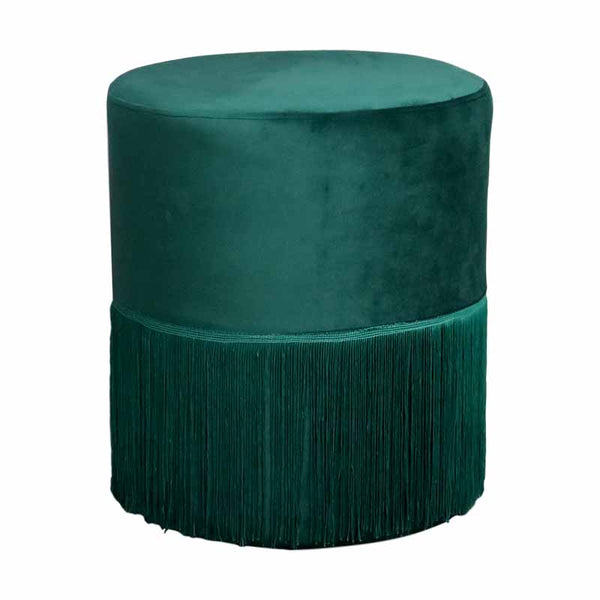 Round Green Tassles Stool - The Quirky Home Co