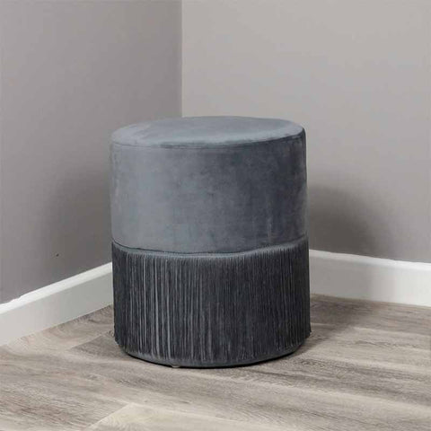 Round Grey Tassles Stool - The Quirky Home Co